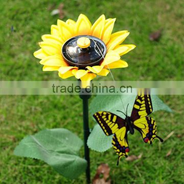 solar fluttering butterfly with sunflower flying butterfly sunflower fluttering butterfly garden decoration solar butterfly
