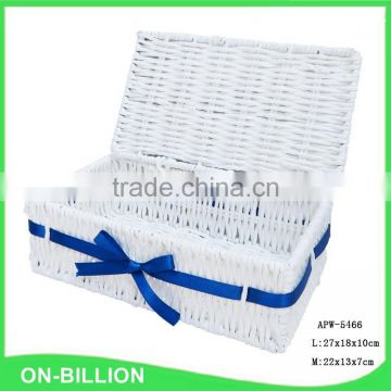 Stylish paper rope weaving basket with lid for cutlery small sundries storage