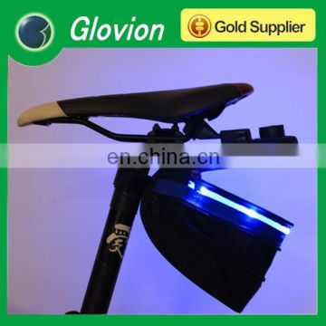 Safety bike light with bag outdoor pouch bicycle seat bag cheap glowing bike bag