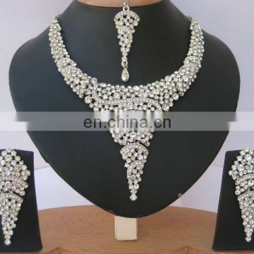INDIAN DESIGNER AMERICAN DIAMOND SILVER PARTYWEAR JEWELRY NECKLACE SET