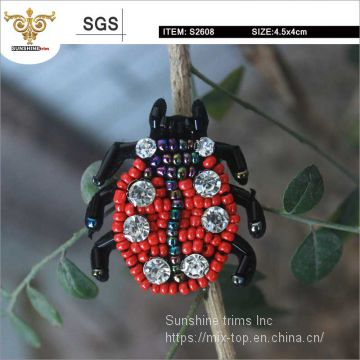 Rhinestone insects applique,Beaded patches for bags,shoes, apparels, handmade products with high quality