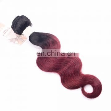 cheap 100% human hair weft two color ombre remy no tangle hair extension