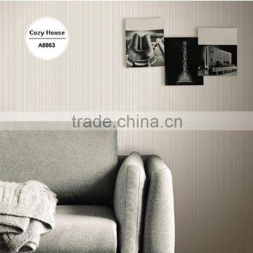 Economic Embossed Vinyl Wallpaper Grey Simple Plain Wall Mural For Restaurant Eco Sticker