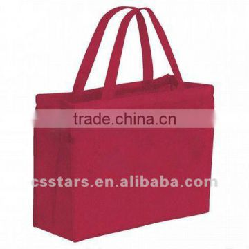 Red non-woven soft textured polypropylene tote shopping bag
