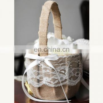 lace bow wedding flower girl jute basket