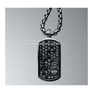 925 Silver Designs Inspired DY Pave Black Diamond Dog Tag Men Necklace