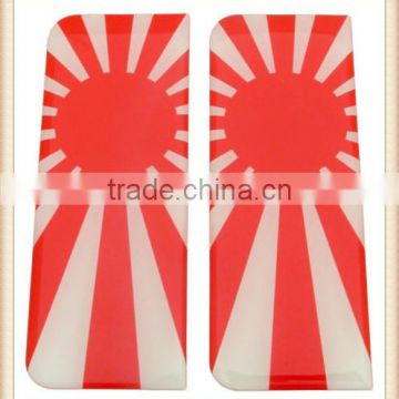 Japan Rising Sun Number Plate Resin Domed Sticker 3D Car Badge x 2