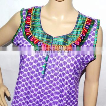 Summer Block Print Long Tunic Top kurti Cotton Indian Handmade
