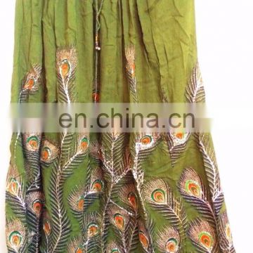 Indian traditional boho gypsy hippie summer skirts Rayon Boho Hippie Casual Sequin Work Long Embroidered Skirts Wrap wholesale