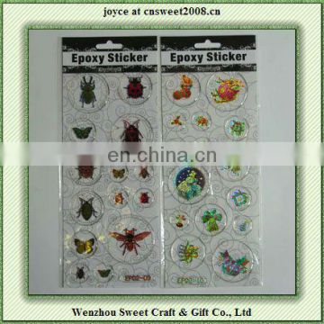 Colourful funny gnat patterns epoxy laser stickers for kids gift