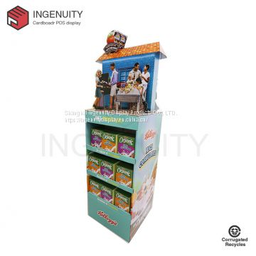 floor standing cardboard retail display for foods