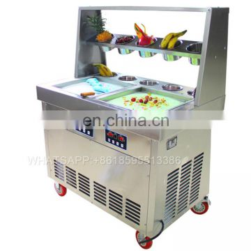 deep freeze durable fry ice cream machine/frying ice pan with cooling buckets machine/fried icemachine