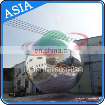 8m Giant Sliver Mirror Ball Inflatables Reflective Chrome Balloon / Stage Decoration Ball For Event Show