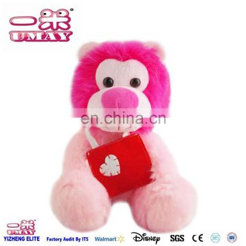 2017 New plush pink lion with bag plush toy 0512 Shenzhen toy factory