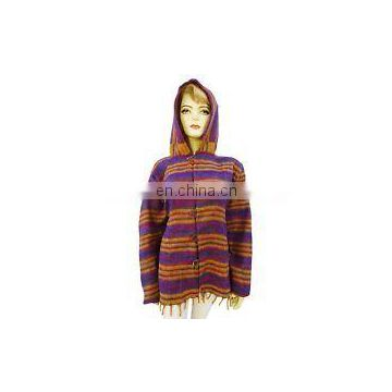 iNDIAN Wool Blend Poncho With Hood Plus Size Winter Wear Women Boho Clothing Hood & Pocket Bohemian Boho Handmade Yak Wool