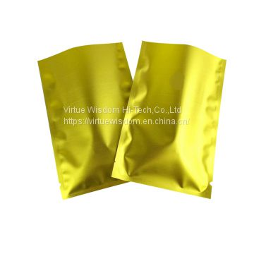 Gold shiny laminated material aluminum foil flexible three side seal pouch metallic flat vacuum pouch for tea packaging bag