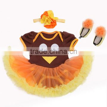 Newborn baby chiffon tutu rompers Turkey Thanksgiving outfits kids M6080101
