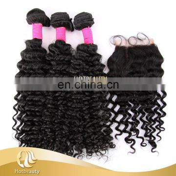 2015 alibaba full and pure brazilian deep wave virgin bulk hair bundles with closure