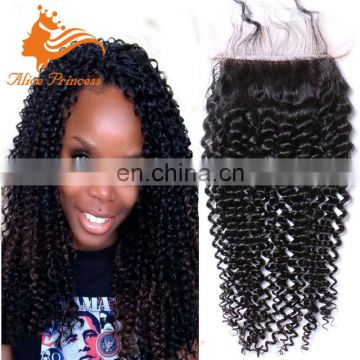 Indian Virgin Hair Wet And Wavy Closure Kinky Curly Incisible Part Remy Human Hair Closure With Baby Hair