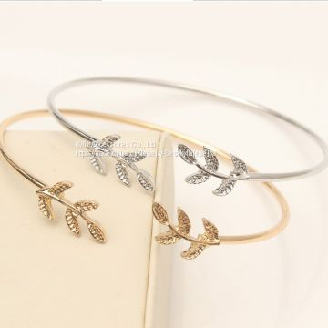 Fashion Jewelry Leaf open bangle