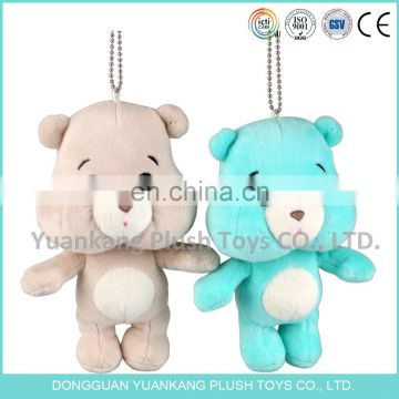 Lovely soft care teddy bear plush keychain with round face