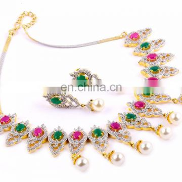 wholsale american diamond jwelery- two plated cubic zirconia nacklace set-pink and green stone diamond set