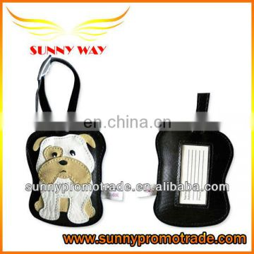 Dog shape PU leather luggage tag for promotion gift