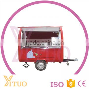 Chian Customizd Stainless Steel Factory Price Mobile Towable Snack Fast Food Cart / food cart