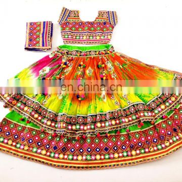 Traditional Designer Double layer Bhandhni Mirror work Pom Pom Chaniya Choli- Double layer Bandhej Mirror Traditional CHOLI