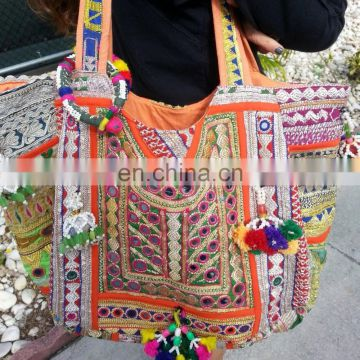 Mirror Sequins work Handmade Embroidery Vintage Banjara Bags for Women's