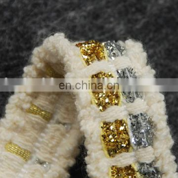 Top hot design fashion gold/silver lurex cotton tape trim