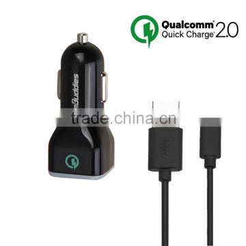 Best quality 5/9/12V Dual USB car charger QC 2.0 quick car charger for Mobile phone/tablet/Power bank devices