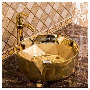 Wholesale Oem bathroom ceramic golden color rectangle no hole wash hand basin