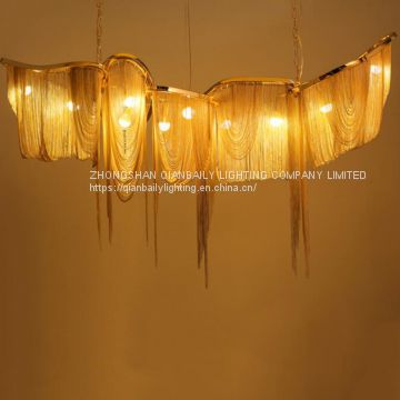 Modern aluminium chain pendant lamp chandelier for home decoration living room and villa hall