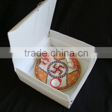 Marble Pooja Thali Plate Handicraft Religious Gift Decor Art And
