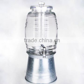 double glass dispenser with metal stand or iron bucket