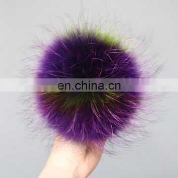 Multi-color wholesale real raccoon fur pompon ball with elastic