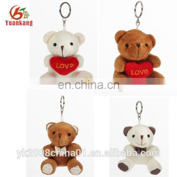 Stuffed valentines plush teddy bear keychain toys with heart in hand for girlfriend wholesale