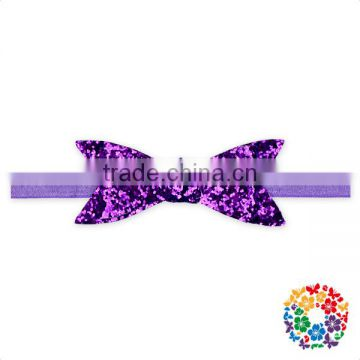 cheap new design baby girl elastic sequin large bow headband