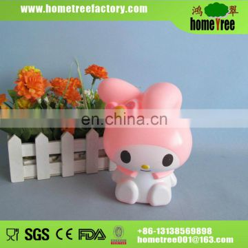 Lovely pink rabbit plastic coin bank