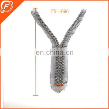 fashion zipper shape detachable lace collars with glass beads