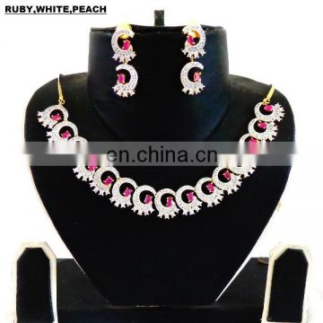 pink american diamond jewellery set-fence indian cz jewellery-wholsale round saep ethnic jewellery