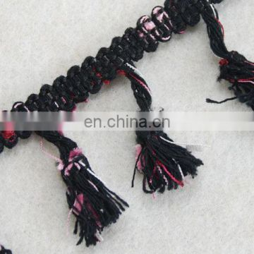 Top fashion multico design pompom fringe tassel trim for winter season garments
