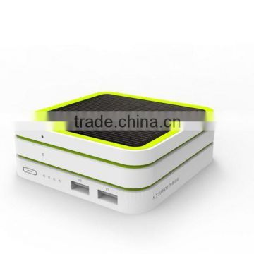 Multifunction stackable power bank with solar panel, wireless panel, fan model