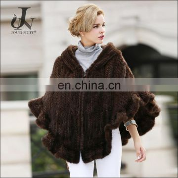 Winter Knitted Real Mink Fur Shawl With Hood Cappa Caputium