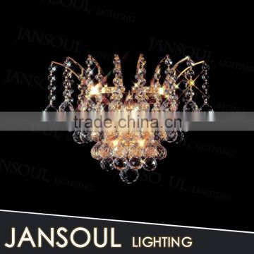 fancy luxury chinese wholesale gold spot light crystal balls mounted wall lamp for bedside
