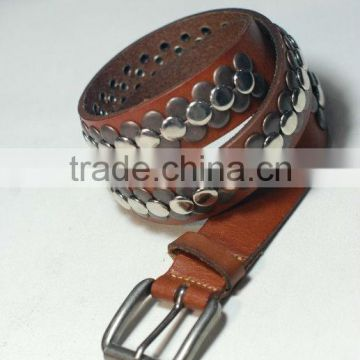 Leather belts with metal buttons