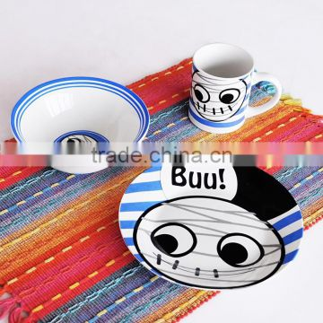 3pcs ceramic dinnerware set for children, porcelain with decal