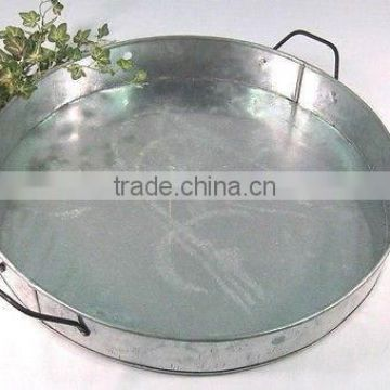 antique rounded metal tray