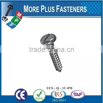 Made in Taiwan ISO 1481A2 Slotted Pan Head Tapping Screws Stainless Steel Cone Point DIN 7971 C